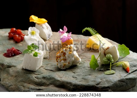 Fine dining cheese plate on the stone - stock photo