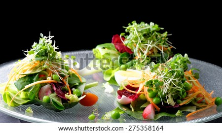 Fine dining mixed salad with ruccola, pine nuts, eggs, cheese and baby tomatoes - stock photo