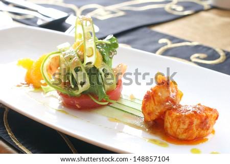 Fine dining scallops - stock photo