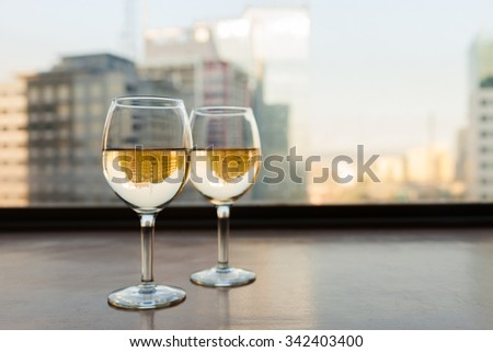 Fine dinning and city views.  - stock photo