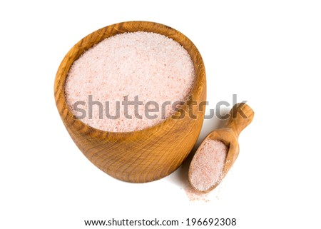 fine himalayan salt in a wooden bowl - stock photo