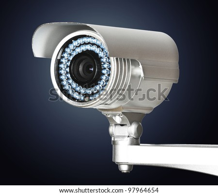 fine image of classic cctv infrared security camera isolated on white - stock photo