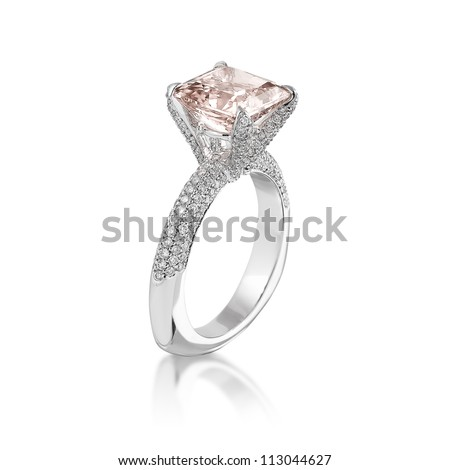 Fine jewelry: Pink diamond engagement ring isolated on white background.