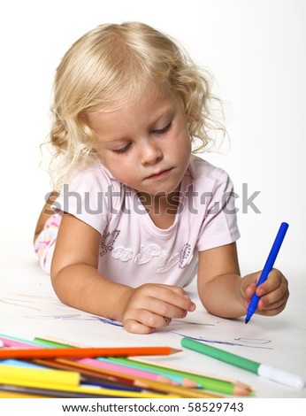 fine portrait of blonde kid drawing