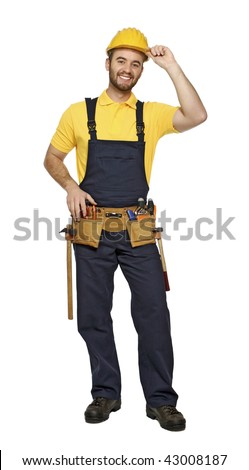 fine portrait of contruction worker on white background - stock photo