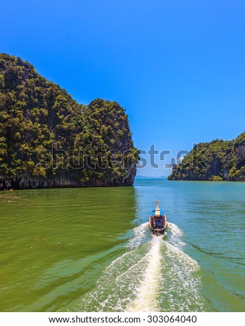 Fine rest in Thailand by native boats. The gulf in the Andaman Sea - stock photo