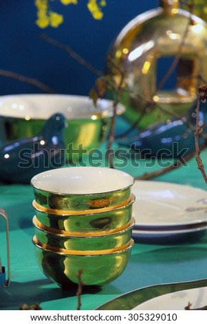 Fine restaurant dinner table setting  - stock photo