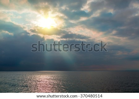 Fine sunset on the quiet Black Sea - stock photo