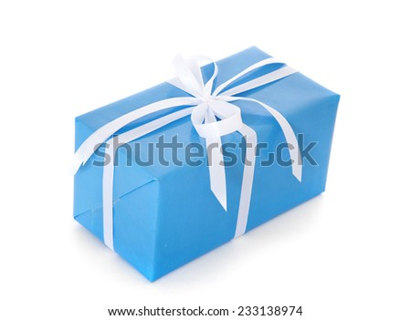 Fine wrapped present. All on white background