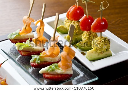 finesse side dishes / appetizer food or tapas - stock photo