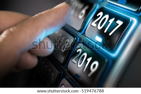 Finger about to change year to 2017 by pressing a button. Composite between an image and a 3D background