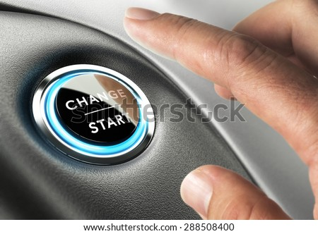 Finger about to press a change button. Concept of change management or changing life - stock photo