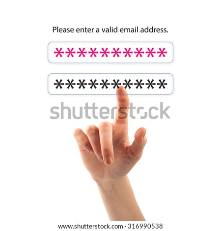 Finger and button on touch screen. Log in concept.. - stock photo