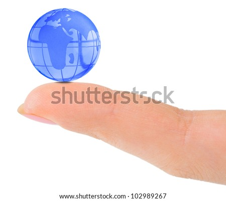 Finger and globe isolated on white background