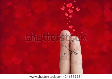 Finger art. Lovers is embracing. Happy Valentine's Day and 8 March theme series. Painted fingers. Stock Image There are path included in image. You can easily cut out fingers from the background.  - stock photo