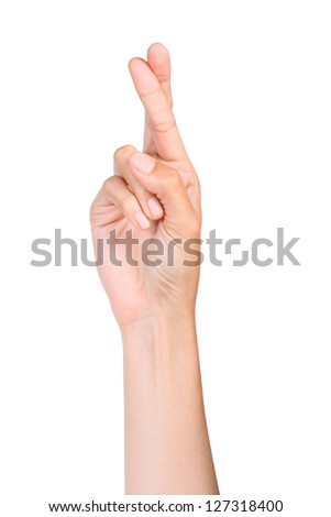 Finger crossed hand sign, good luck symbol isolated on white