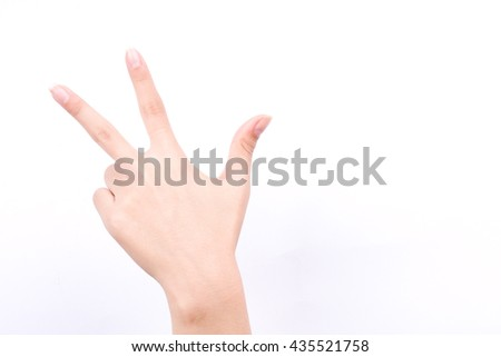 finger hand girl symbols isolated concept three fingers salute congratulation on white background  - stock photo
