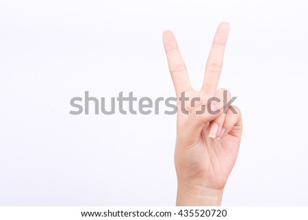 finger hand girl symbols isolated concept two points lesson learn teaching and victory sign on the white background  - stock photo