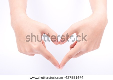 finger hand symbols isolated concept love heart shape framing and health care composition on white background