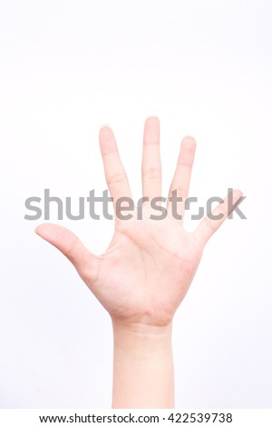 finger hand symbols isolated concept stop block or five points on the white background - stock photo
