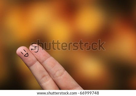 Finger hug with Abstract Lights and painted smiley