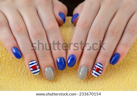 Finger nail treatment ,hands with painted fingernails - stock photo