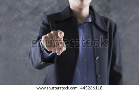finger of businessman pointing to you for use as hand pushing touch screen, pressing digital virtual button