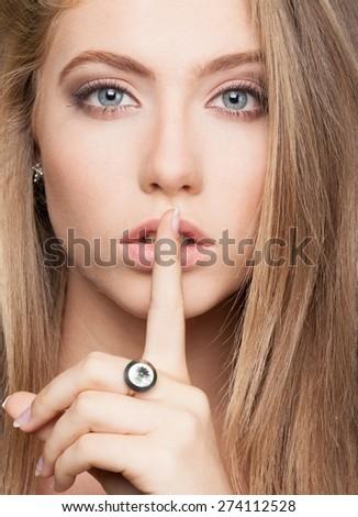 Finger on Lips. Silence - stock photo