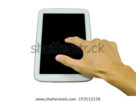 Finger on the touch screen - stock photo