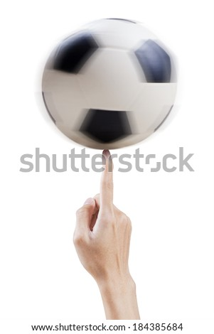 Finger playing with a soccer ball. isolated on white background - stock photo