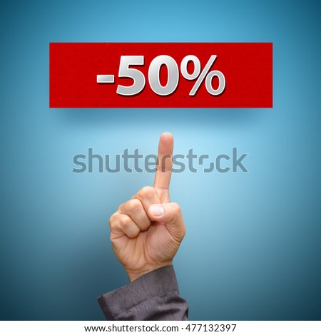 finger point to Half sale