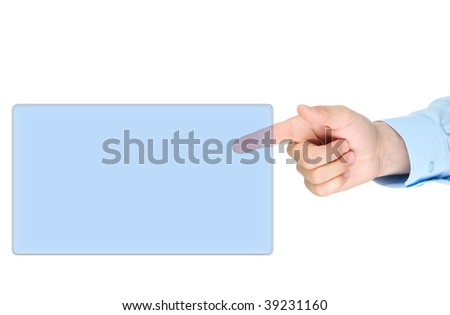Finger point to screen isolated on white background