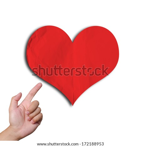 finger pointing big red heart isolated white background