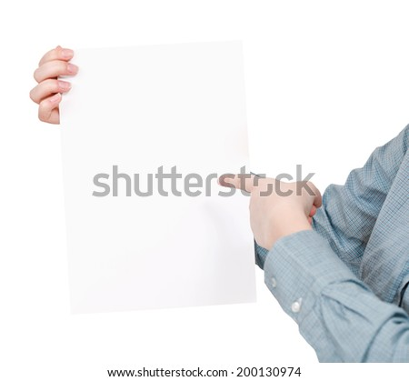 finger pointing on sheet of paper in female hand isolated on white background