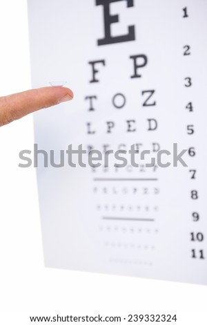 Finger presenting a contact lens on white background