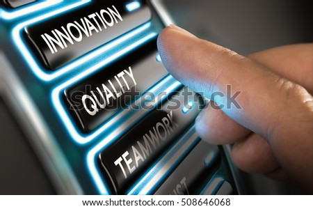 Finger press a quality button on a dashboard. Modern user interface design with blue tones. Concept of company statement value. Composite image between an image and a 3D background