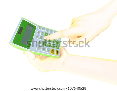 Finger pressing key for Counting on calculator. - stock photo