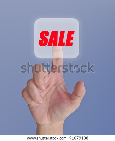 finger pressing sale button