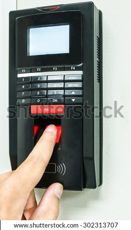 Finger print scan for enter security system