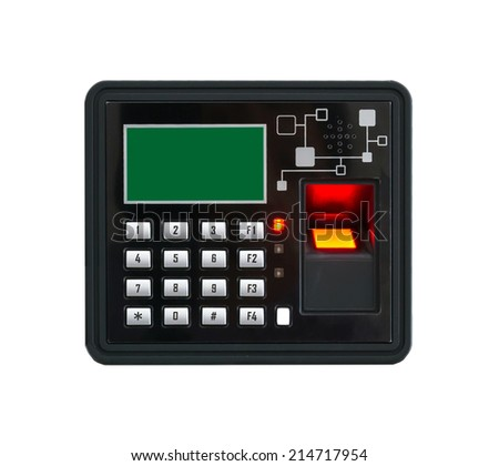 finger print scan machine on white background - stock photo