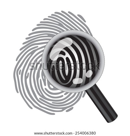 finger print with magnifying glass - stock photo