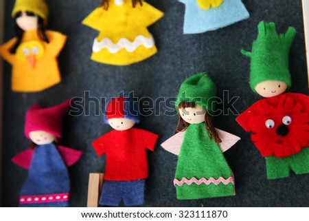 Finger puppets made of fabric - stock photo