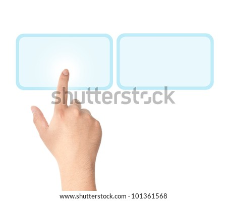 Finger pushing light blue button - stock photo