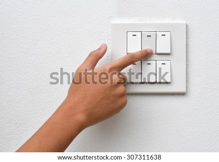 Finger put off switch for save energy concept - stock photo