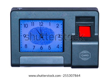 Finger scan sensor isolate on white background - stock photo