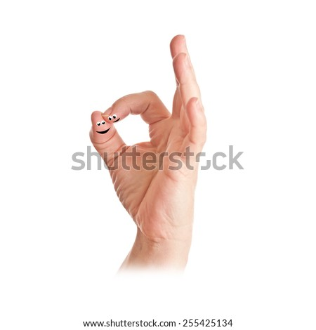 """finger show """"ok"""" sign - stock photo"""