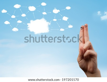 finger smiley faces on hand with cloud network system