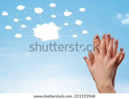 finger smiley faces on hand with cloud network system - stock photo