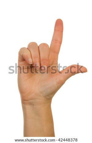 Finger spelling (hand alphabets) : Hand is spelling letter L over white background