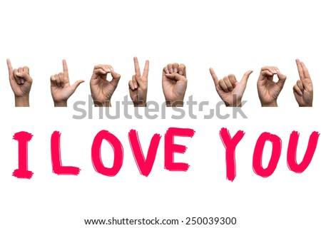 Finger Spelling the Alphabet in American Sign Language (ASL),I Love You. - stock photo